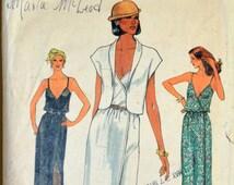 1970s Vogue Vintage Sewing Pattern 7734, Size 16; Misses' Dress and Jacket
