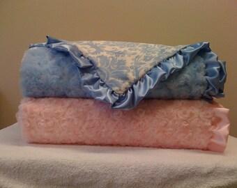 blue paisley Minky baby blanket