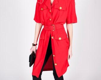 Vintage 1980s Red Belted Dress