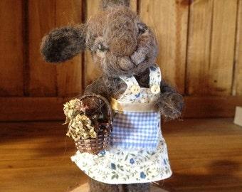 needle felted bunny, needle felted rabbit, alpaca wool bunny