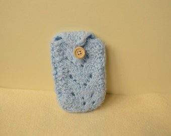 Knitted phone case, phone sock, blue phone case