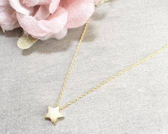 Brushed Star Necklace ~ Silver/Gold