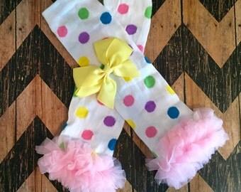 polka dot with light pink ruffle baby leg warmers monogrammed