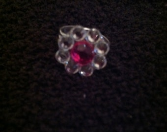 Hot Pink/ Clear Gem Ring