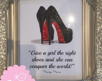 Silver Shabby Chic Famous Glitter Louboutin & Crystals Marilyn Monroe Quote
