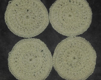 Small White Crocheted Coasters - Set of 4