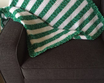 Hand knitted blanket / throw: Green & White