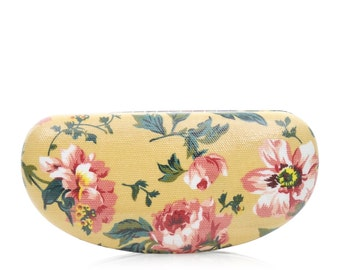 Hard Sunglass case - Yellow Pink Blue Rose- Oilcloth Ladies Sunglasses case- Oil cloth Womens Glasses case- Eyeglass Holder- Eyeglasses Case
