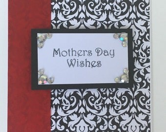 Red and black damask Mother's Day card
