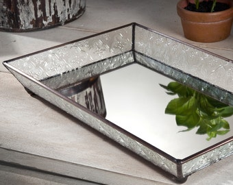 Glass Vanity Tray With Slant Sides- Mirrored Glass Bottom with Clear Vintage Glass Sides - Tra 106-1