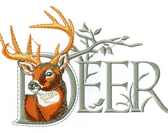 DEER WITH WORD - Machine Embroidery Design - stag wildlife