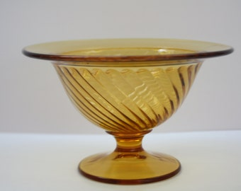 Vintage Amber Reverse Twisted Glass Compote/Candy Dish, 1970s, Home Decor, Glass Dish, Retro