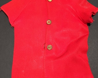 Vintage Talking Ken Doll Red button down shirt. 1960's.