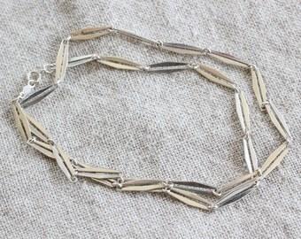Vintage 925 Sterling Silver Geometric Fancy Link Necklace