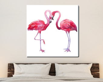 Two Flamingos, Tropical Watercolor Gallery-Wrapped Canvas