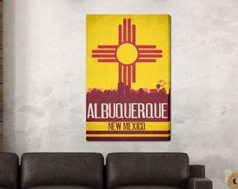 Albuquerque State Flag Skylines Canvas Print