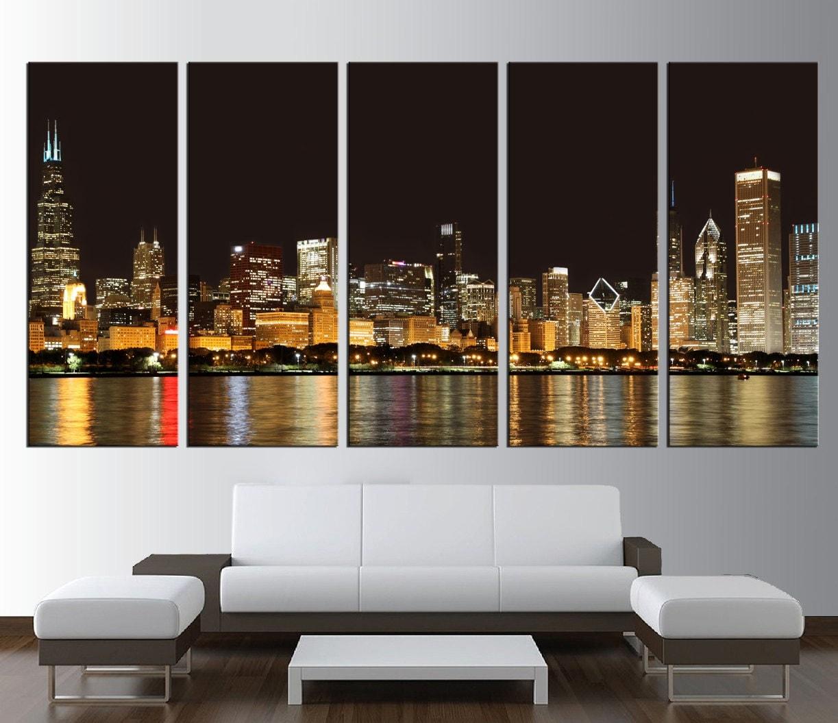 large print chicago skyline wall art canvas, extra large wall art, chicago city wall