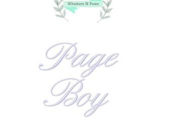 Page Boy wedding embroidery design. Wedding Bridal Party Embroidery Designs. Bridal font.  PES and 8 other formats.