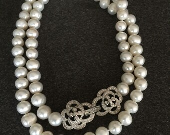 """28"""" fresh water pearl necklace with double rose clasp"""