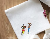 """Set of 2 African style embroidery white napkins """"Two Humans"""""""