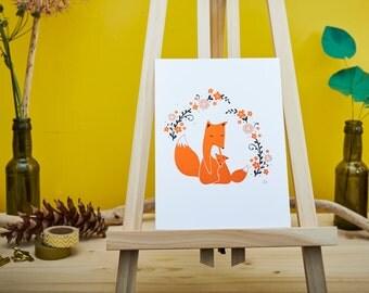 Foxy Mum and Child - Limited Silkscreen Art Print