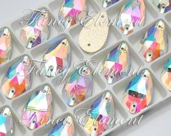 Glass Teardrop (3230) Clear AB Sew On Rhinestones Flatback Jewelry Beads Foiled Back Pear