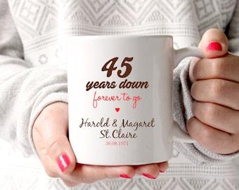 45th anniversary gift, 45th wedding anniversary, 45th anniversary,45 years marriage ,personalised mug, gift mug,45th anniversary gift ideas