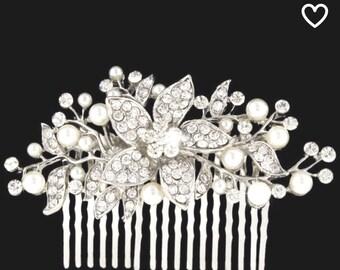 Wedding, Bridal, HAIR COMB, Sterling Silver Plated, Flower Vines, Clear Austrian & Swarovski Crystal Rhinestones Prom Quinceanerra On SALE