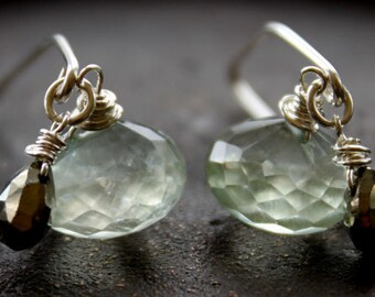 Prehnite n Pyrite Dangle Sterling Earrings- Handmade, semiprecious,holidays,