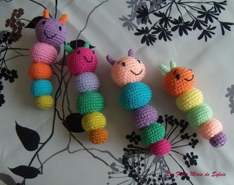 Multicoloured Caterpillar crochet cotton and acrylic