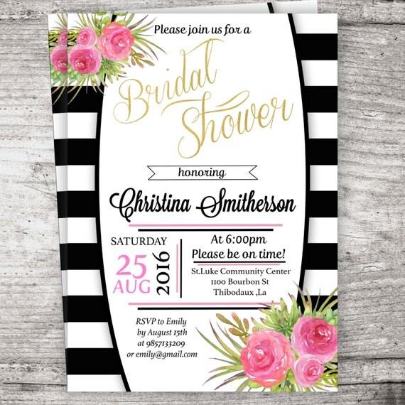 Inspired black and white stripe bridal shower invitation for Black and white bridal shower invitations