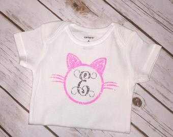 Pink Glitter Cat Initial Onesie