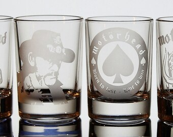 Motorhead Lemmy Kilmister logo etched shot glass set of 4
