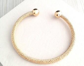 Gold Bracelet,Gold Twisted Bracelet,Gold Open Cuff Bracelet,Ball End Gold Bracelet,Gold Rope Bracelet,Gold Bangle Bracelet