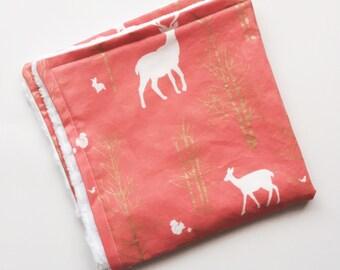 Minky Baby Blanket- Lovey- Security Baby Blanket- Minky Blanket- pink, deer, coral, baby girl nursery