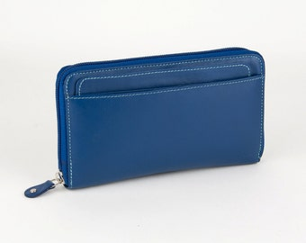 Gift for Her,Navy Leather Wallet, Leather Clutch Wallet, Zipper Wallet, Leather Wallets, Women Wallets, Large Wallets, Leather Wallet Clutch