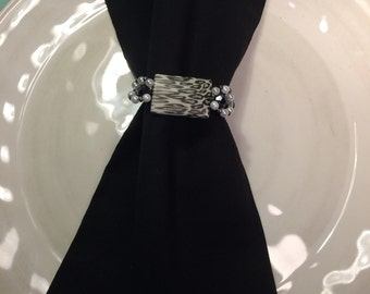 Leopard print, hand crafted, black, white and gray beaded napkin ring/serviette,napkin holder