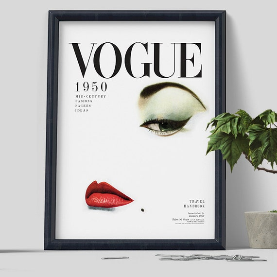 Vogue 1950 cover print wall art home decor by rootsposter on etsy - Magazine wall decor ...
