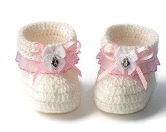 Baby booties,Girls' booties,Crocheted Baby Booties, Crocheted Baby Boots, Baby Boots, Baby Girls' Boots