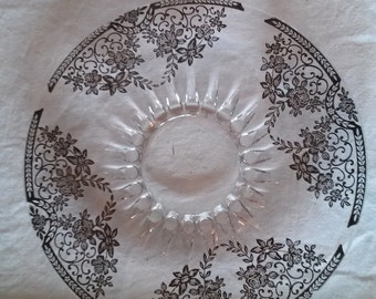 Plate with Silver Foral Design