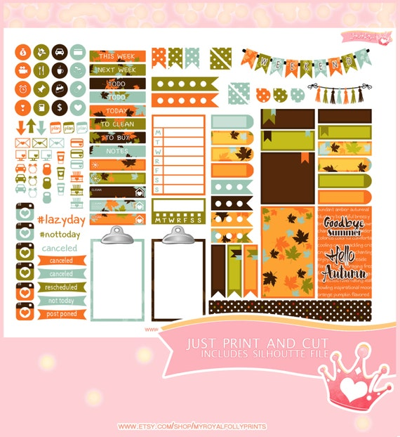 Fall Leaves | Printable Planner Stickers | Happy Planner | Instant Digital Download with Silhouette file