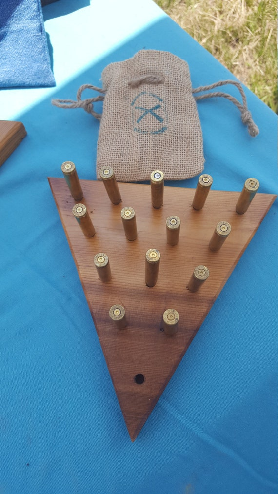 Handmade Peg Baskets : Handmade wood and bullet peg game