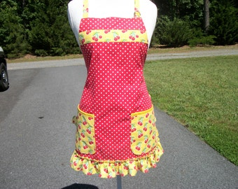 Cherries & Polka Dots Apron, Red with White Polka Dots and Cherries Handmade Apron, Cheery Cherries Apron
