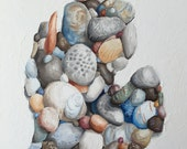 Michigan state stones, oil painting