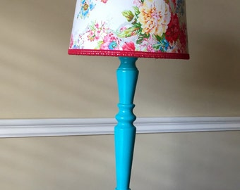 Fun and Flirty Turquoise Lamp with Whimsical Floral Lamp Shade Embellished with Red Lace