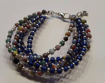 Millefiori and blue beads strand bracelet