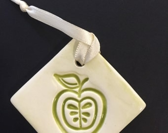 Ceramic Apple Ornament, Stamped Apple, Apple Ornament