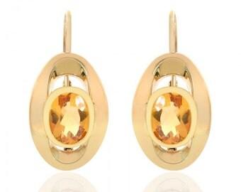 3.00 Carat Oval Citrine Drop Earrings 14K Yellow Gold