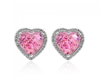 10.85 Carat Heart Shaped Pink Cubic Zirconia & Round Diamond Halo Earrings 14K White Gold