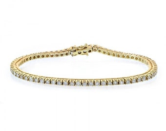 3.00 Carat Diamond Four Prong Tennis Bracelet 14K Yellow Gold